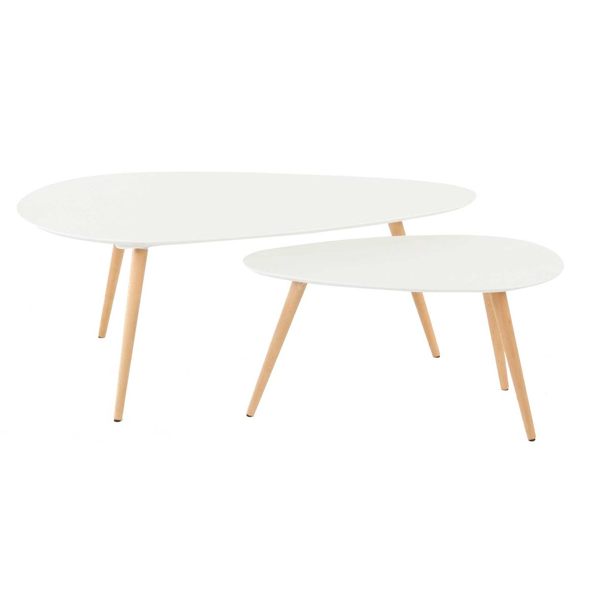 Tables basses gigognes ch ne et laqu blanc 116 cm scandie for Table de salon gigogne