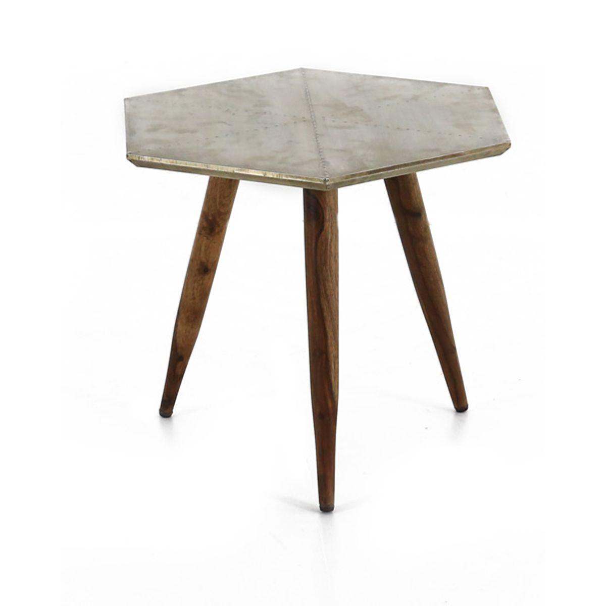 Table basse ronde bois de palissandre et métal finition argent vieilli Coppen