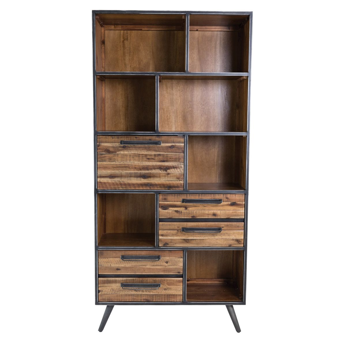 biblioth que style industriel en bois et m tal 7 niches. Black Bedroom Furniture Sets. Home Design Ideas