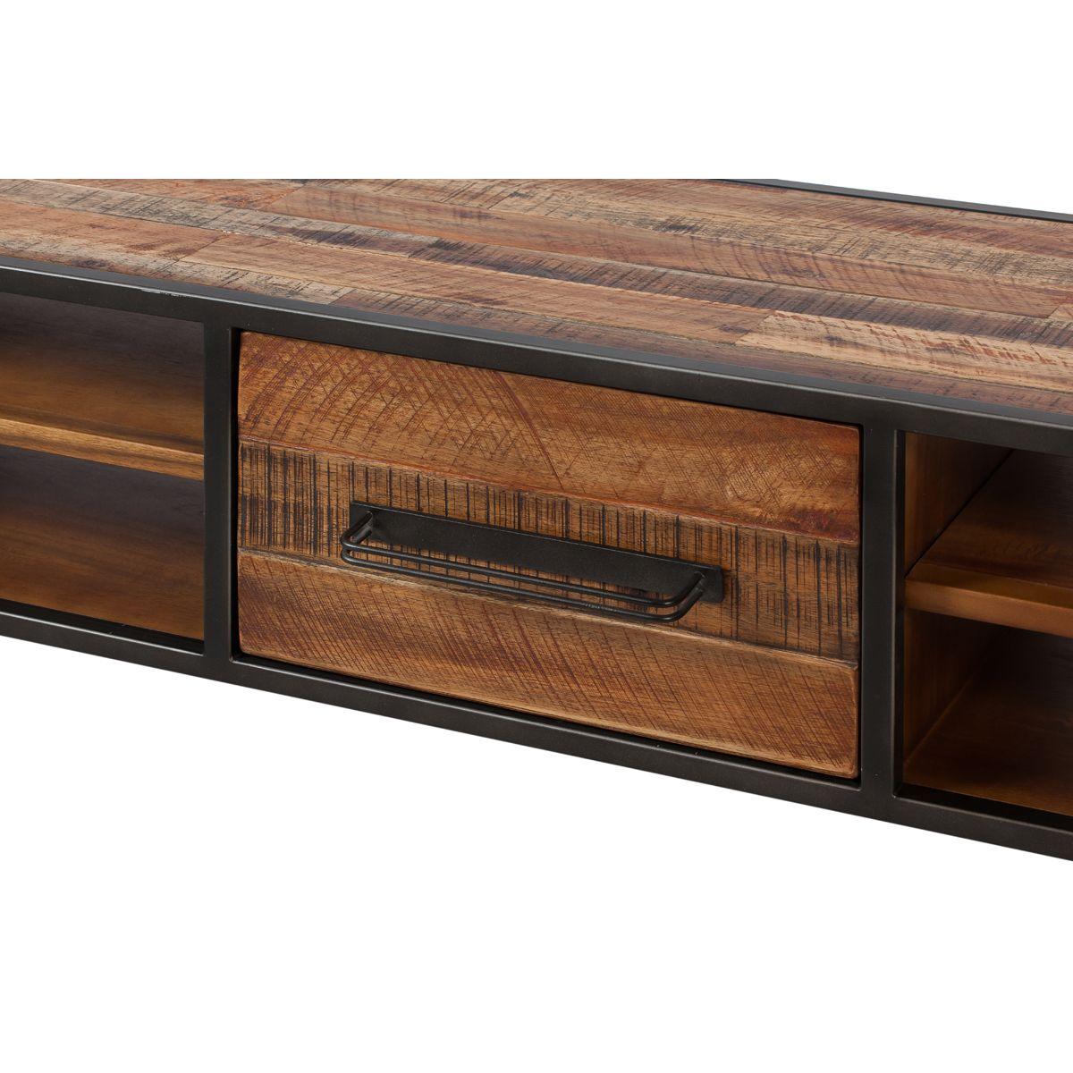 Meuble tv style industriel bois et m tal avec tiroir cusco for Meuble tv zago