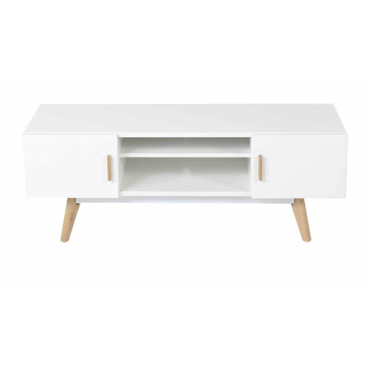 Meuble Tv Ch Ne Et Laqu Blanc 2 Portes 1 Niche Scandie Zago Store # Meuble Tv Chene Blanc Scandinave