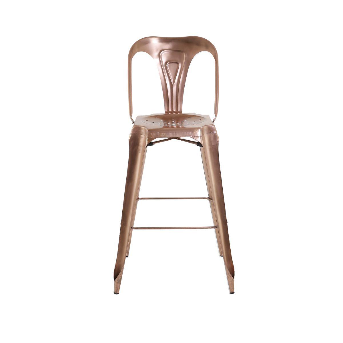 chaise de bar style industriel métal cuivre vieilli | zago store - Chaise De Bar Industriel