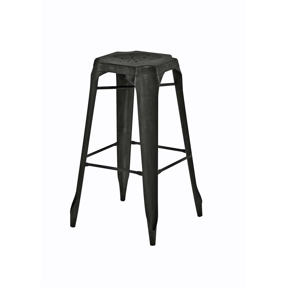 tabouret de bar industriel en mtal noir vieilli indus x2 - Tabouret De Bar Metal Industriel