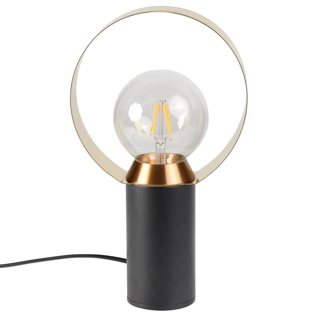 Lampe noire en aluminium et acier doré brossé DUCHESSE