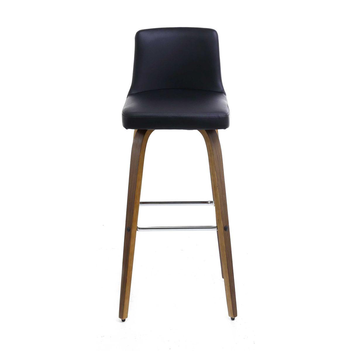 2x tabouret de bar similicuir noir et pieds noyer leti - Tabouret De Bar Style Scandinave