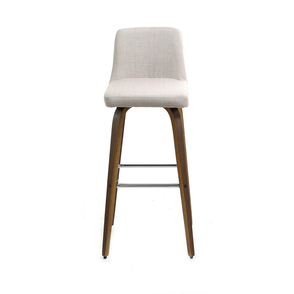 tabouret de bar beige en tissu pi tement bois style scandinave zago store. Black Bedroom Furniture Sets. Home Design Ideas