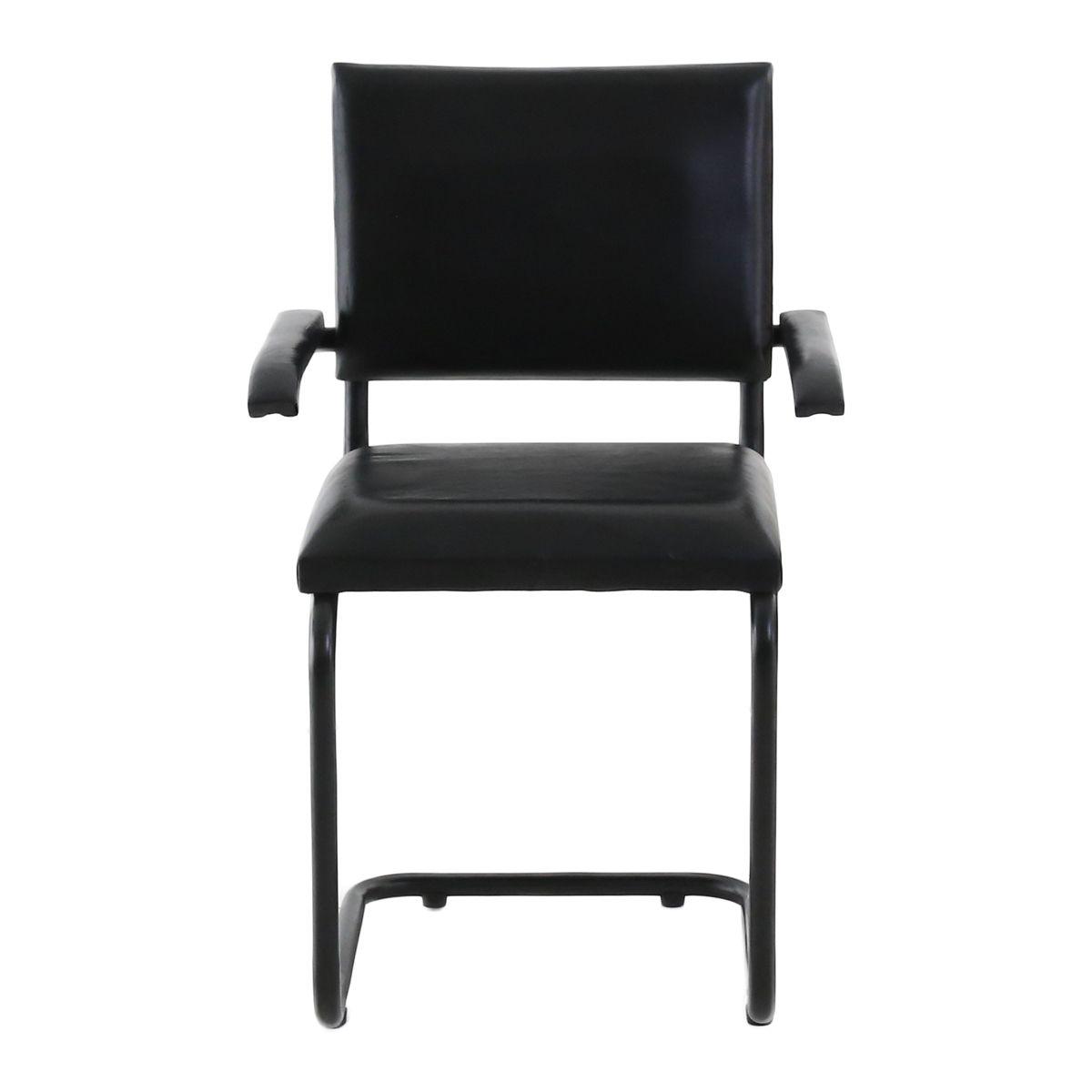 2x Chaise cuir noir et métal avec accoudoirs Montecristo
