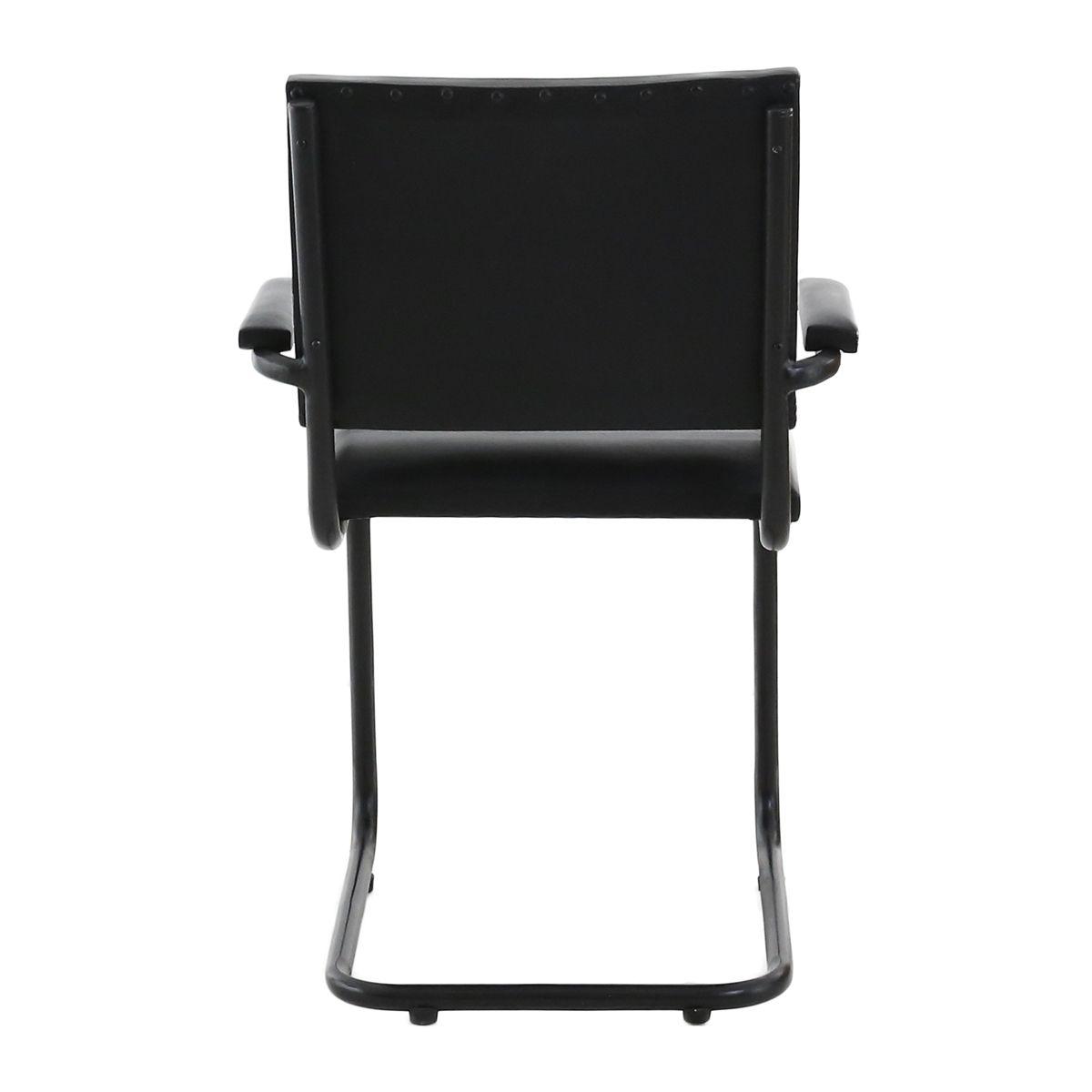 chaise cuir et mtal avec accoudoirs montecristo x2 - Chaise En Cuir