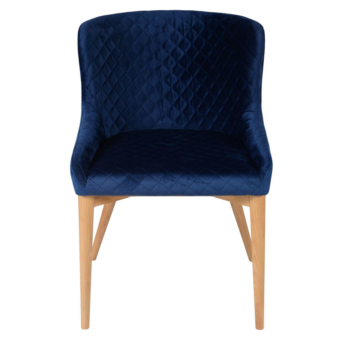 Chaise style scandinave en velours bleu foncé piétement frêne Paris