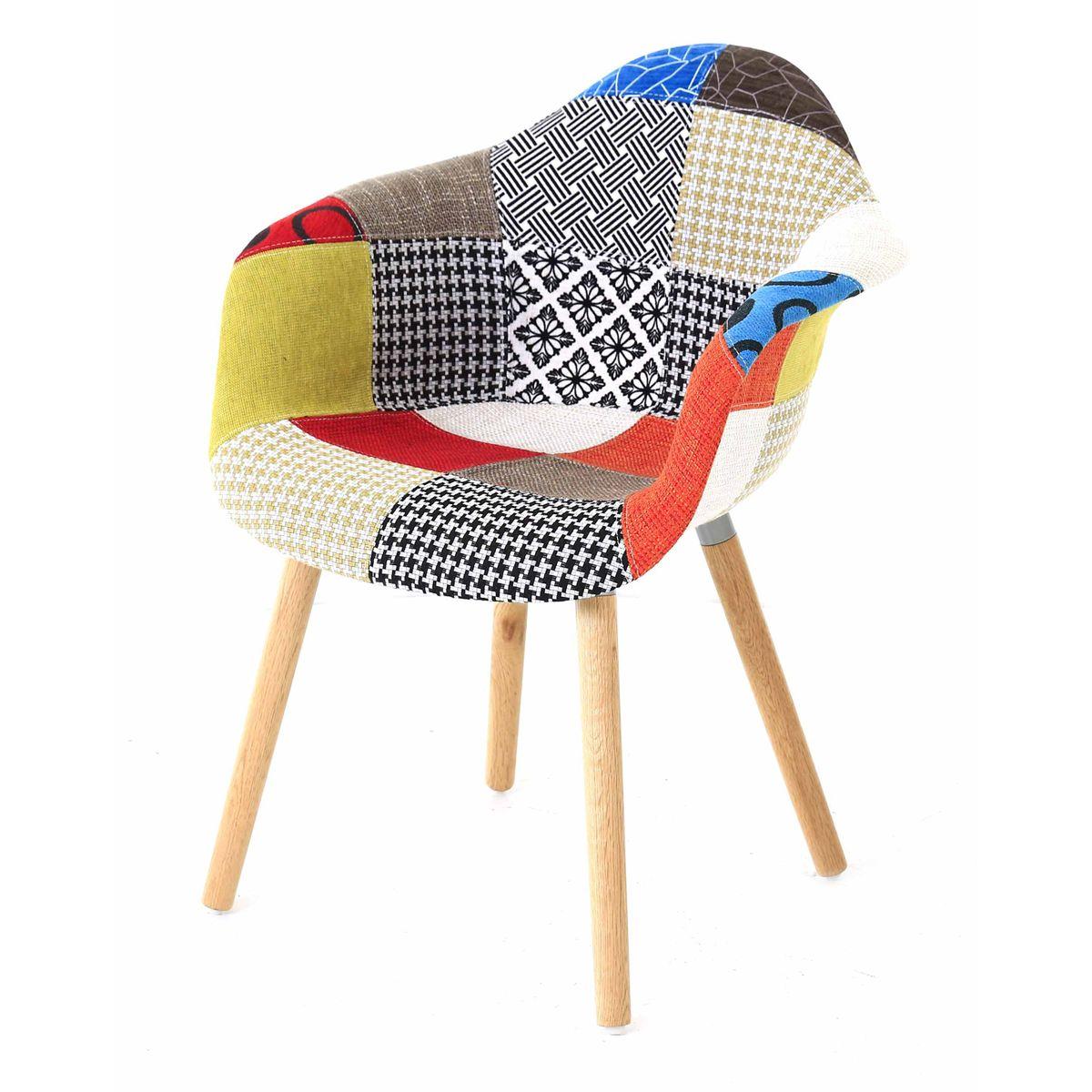 X Fauteuil Style Scandinave Tissu Multicolore Trépied Bois Zago Store - Fauteuil multicolore design