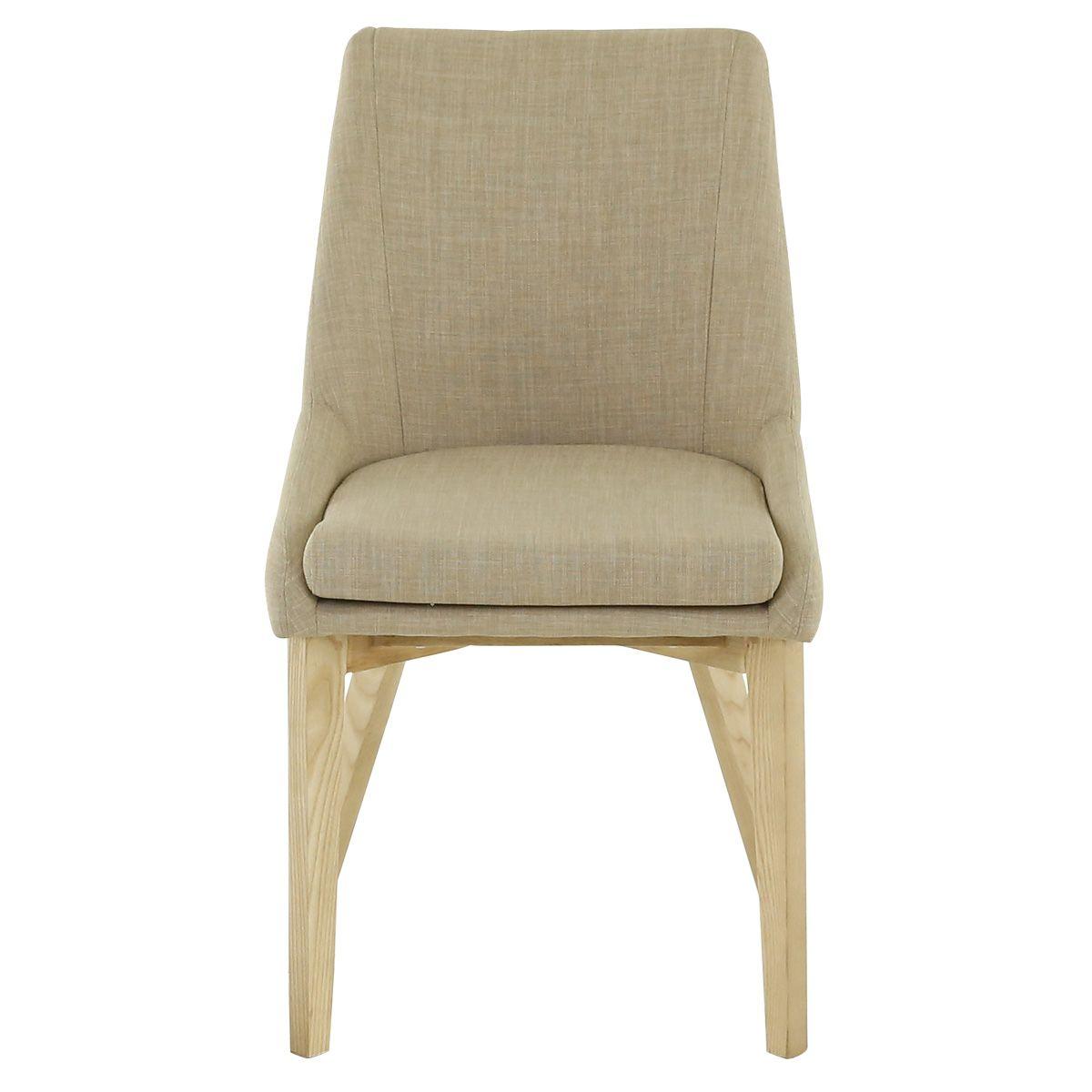 Chaise style scandinave tissu beige et bois de frêne Pistil