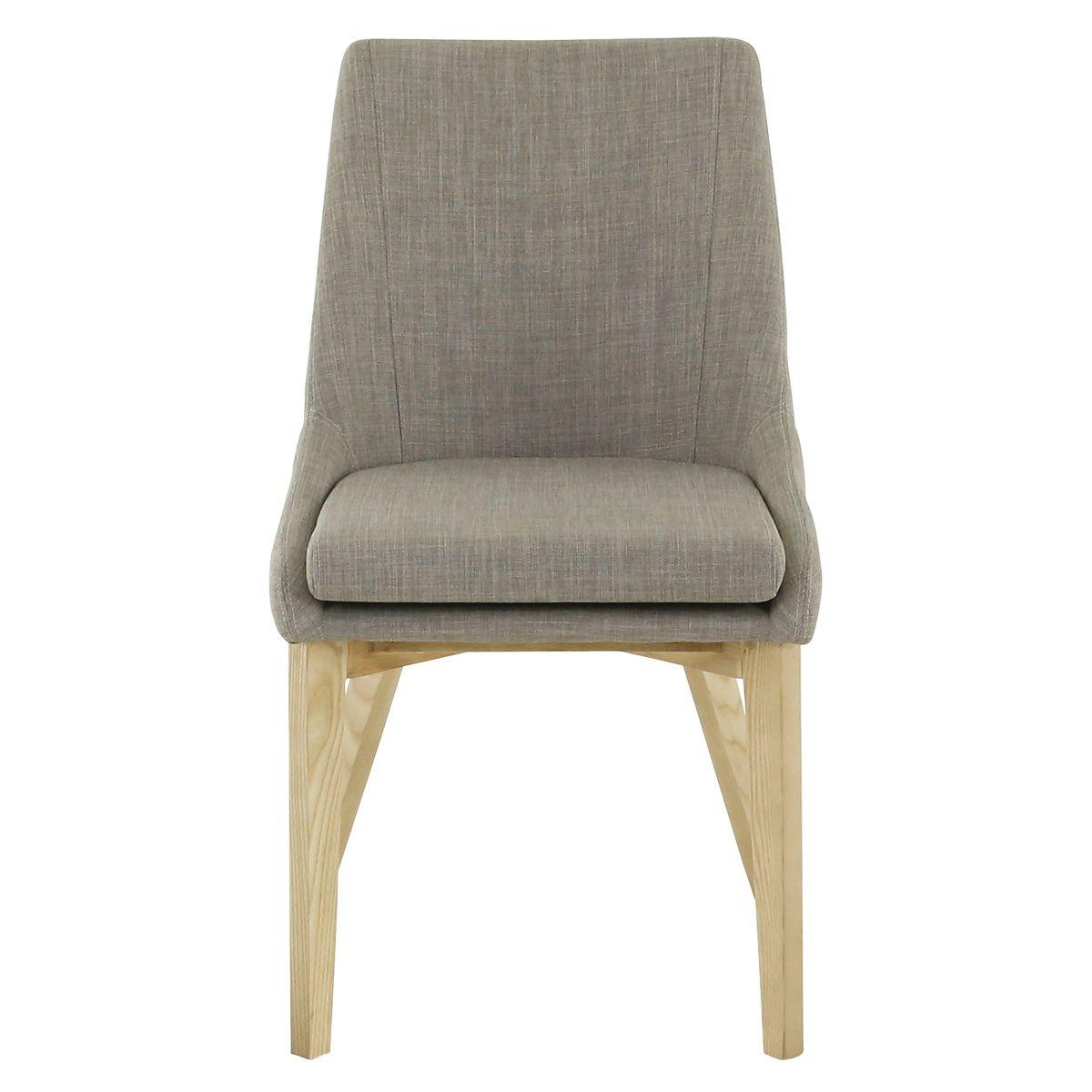 Chaise tissu style scandinave gris clair et bois de frêne Pistil