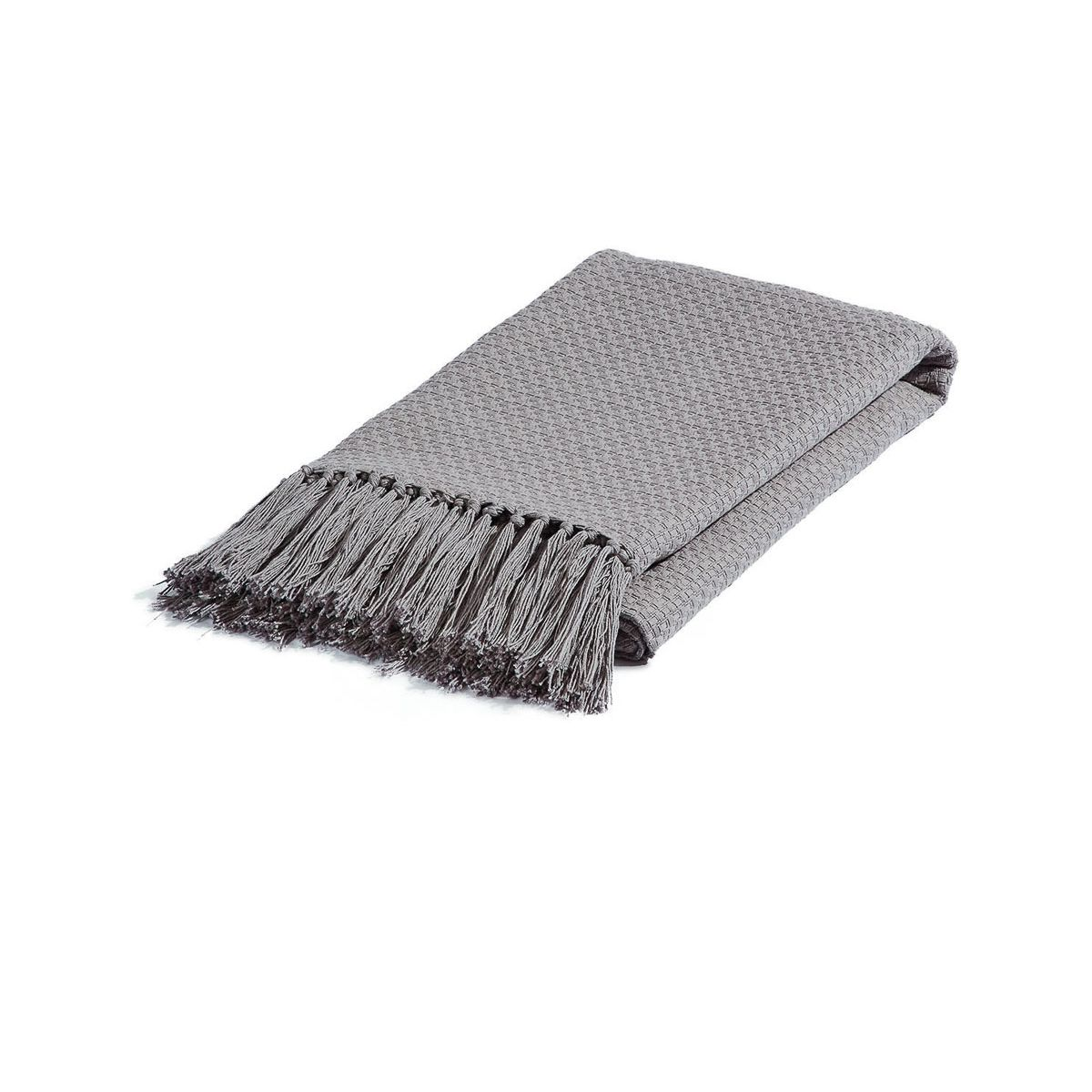 Plaid style caractère loft et industriel en coton gris 150 x 130 cm Isak