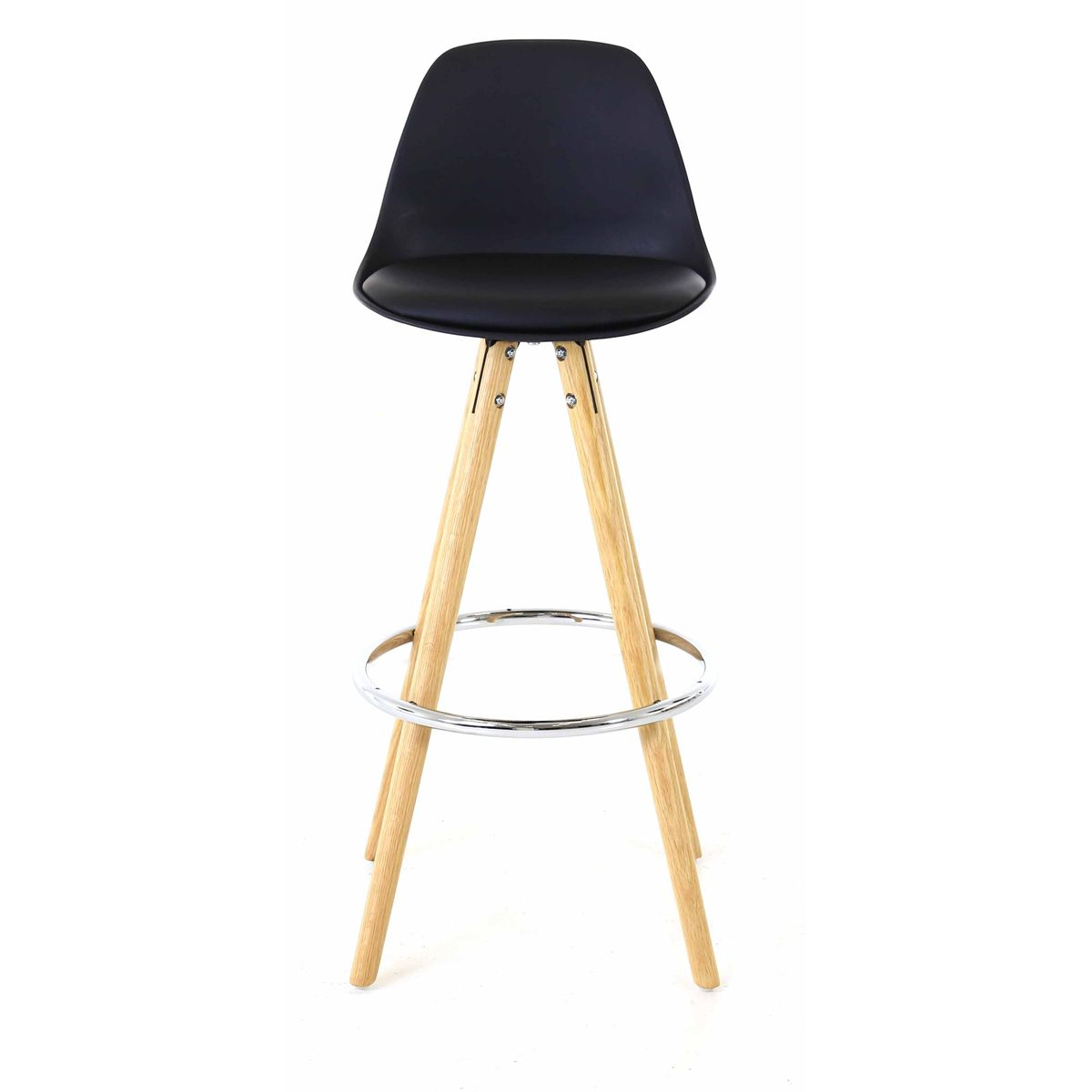 2x Chaise plan de travail noire piétement chêne Popsy