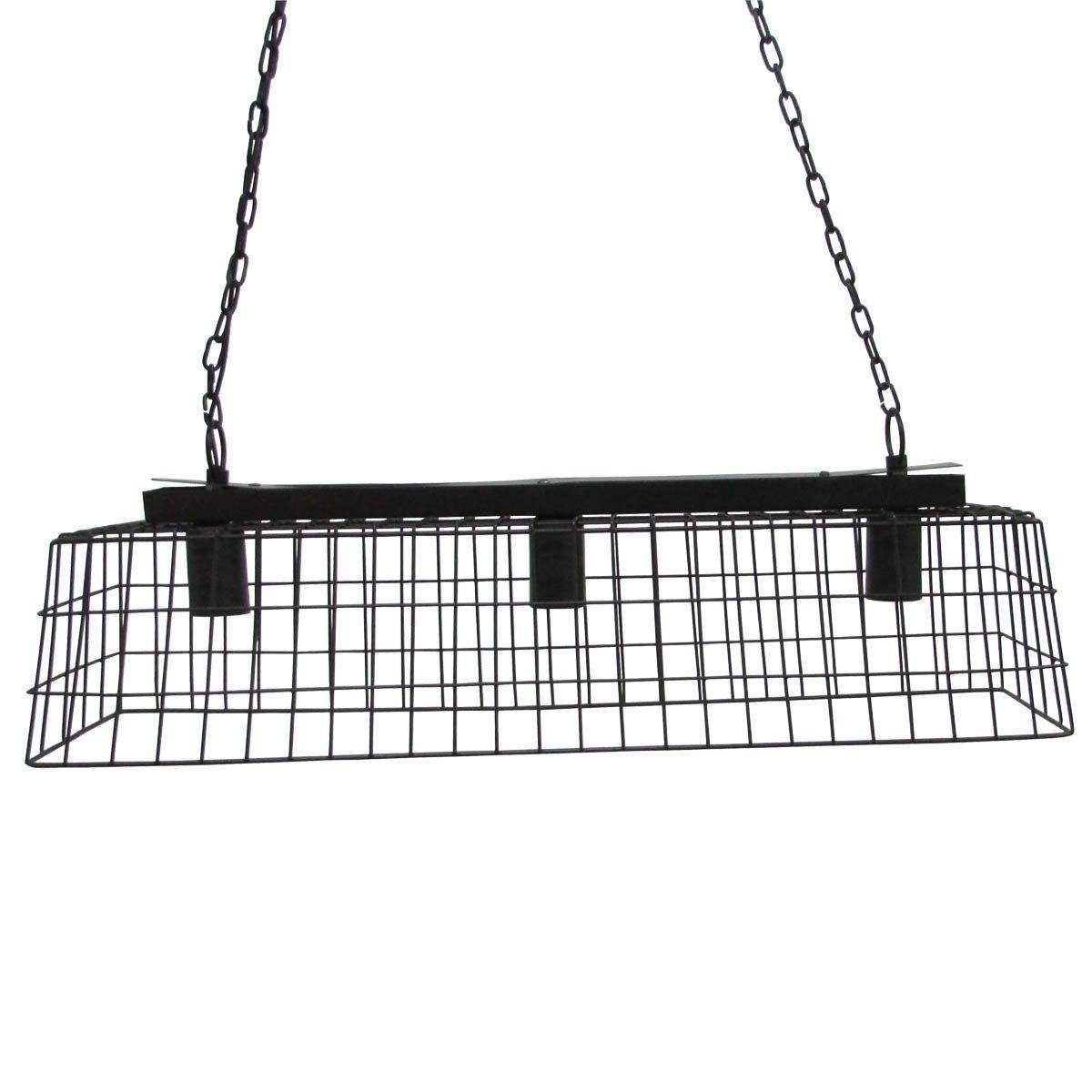 Suspension style industriel rectangulaire noire Mesh