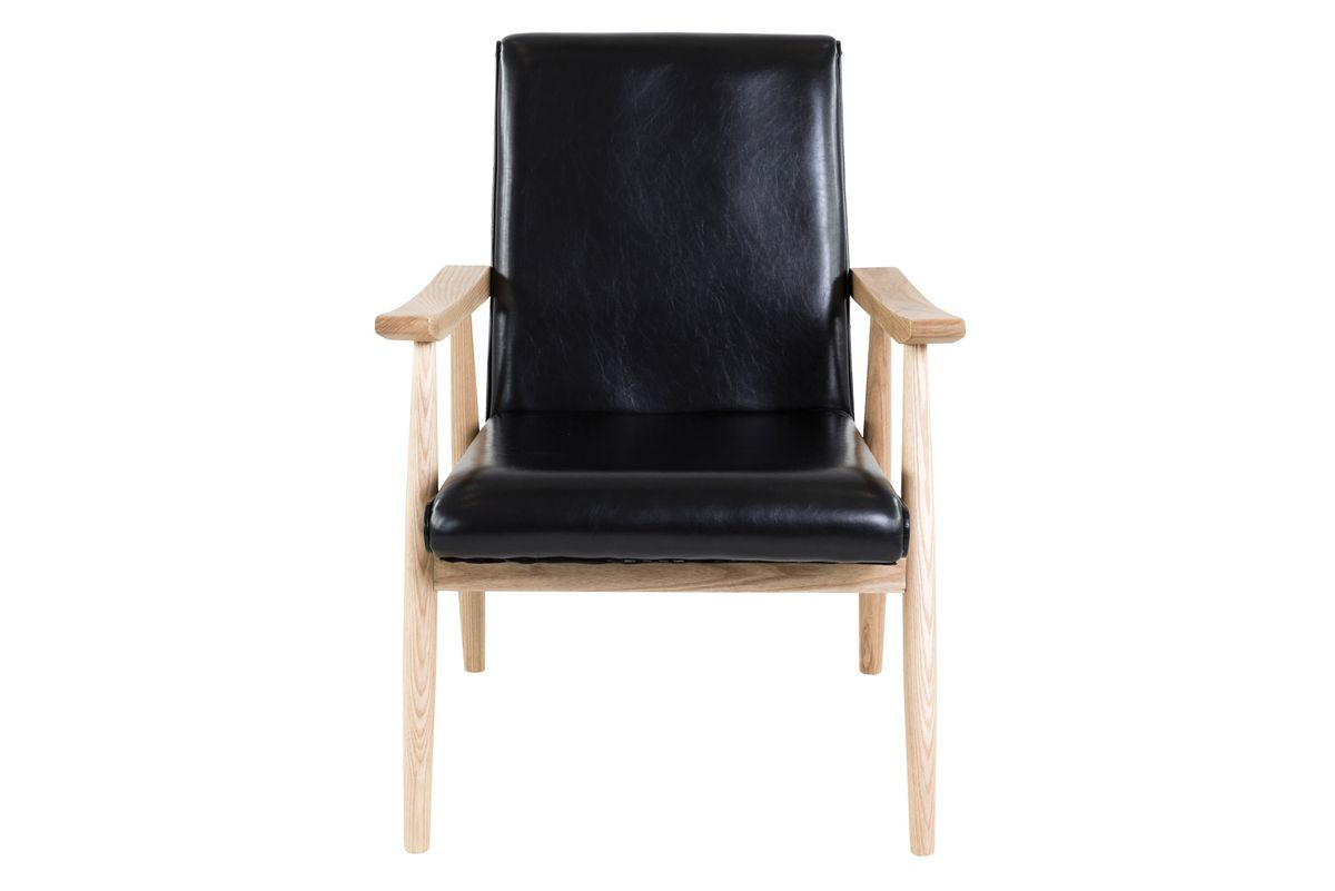 Fauteuil style vintage similicuir noir et bois ALFRED