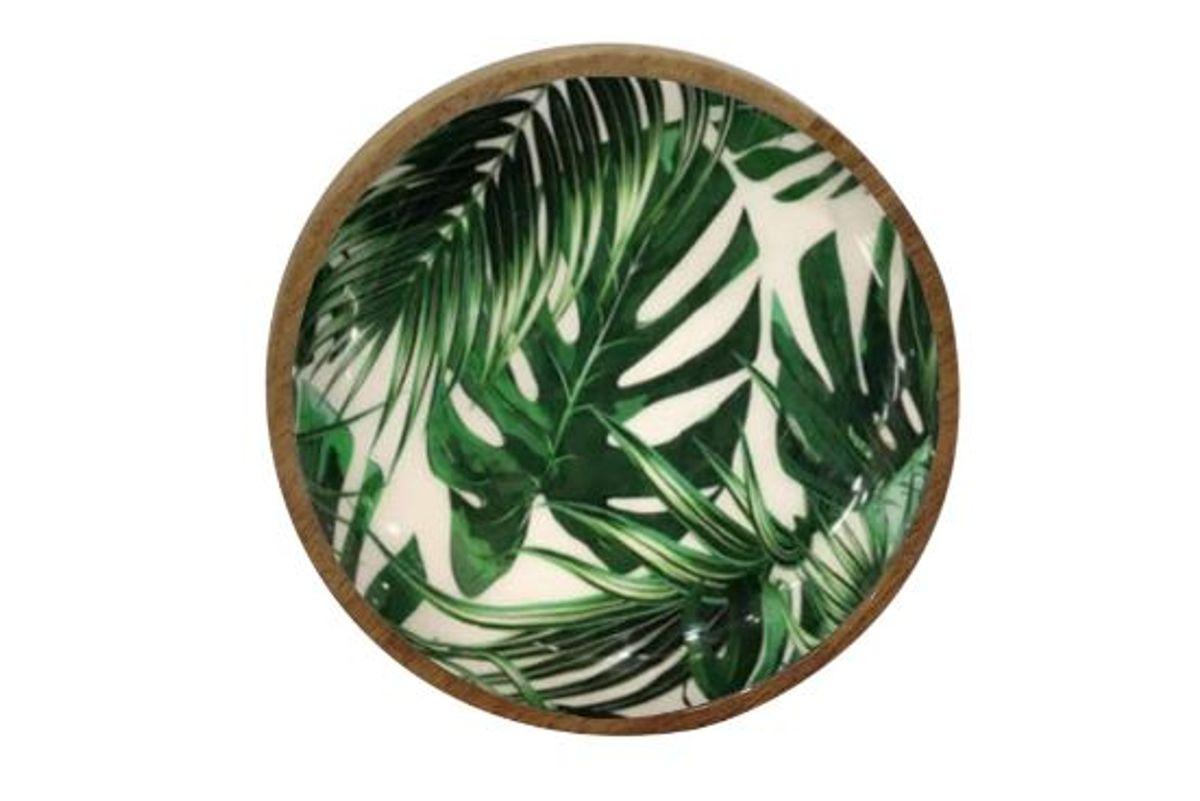 Plat rond à motifs jungle en bois de manguier Ø 15 cm Aloha