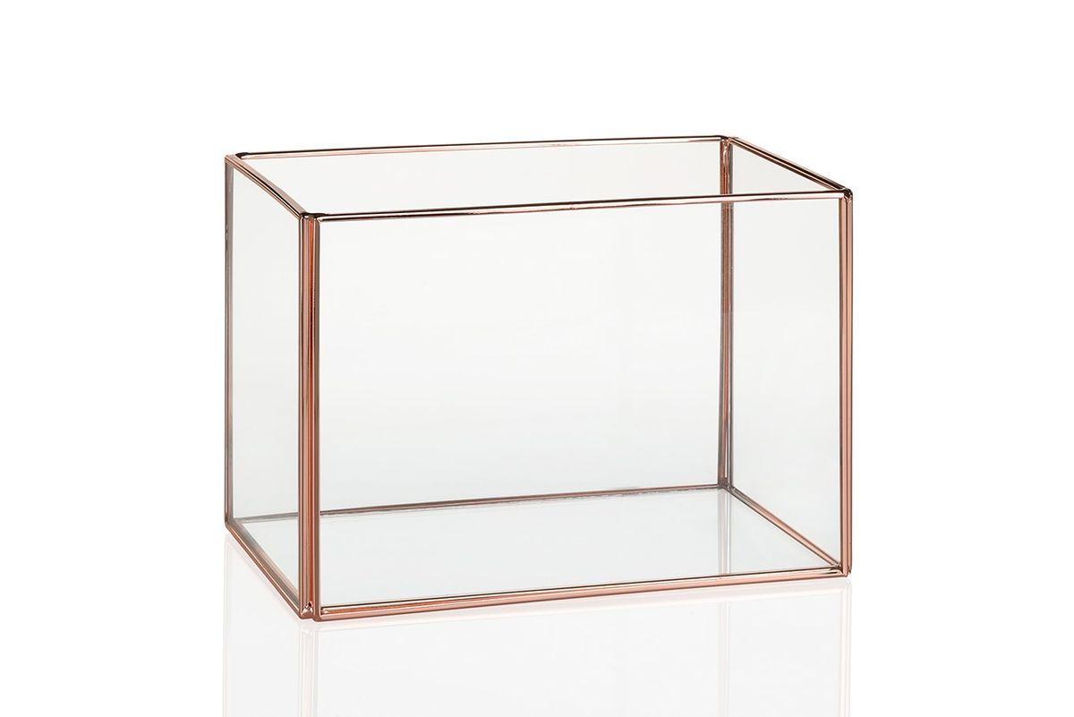 Terrarium verre et cuivre rectangulaire