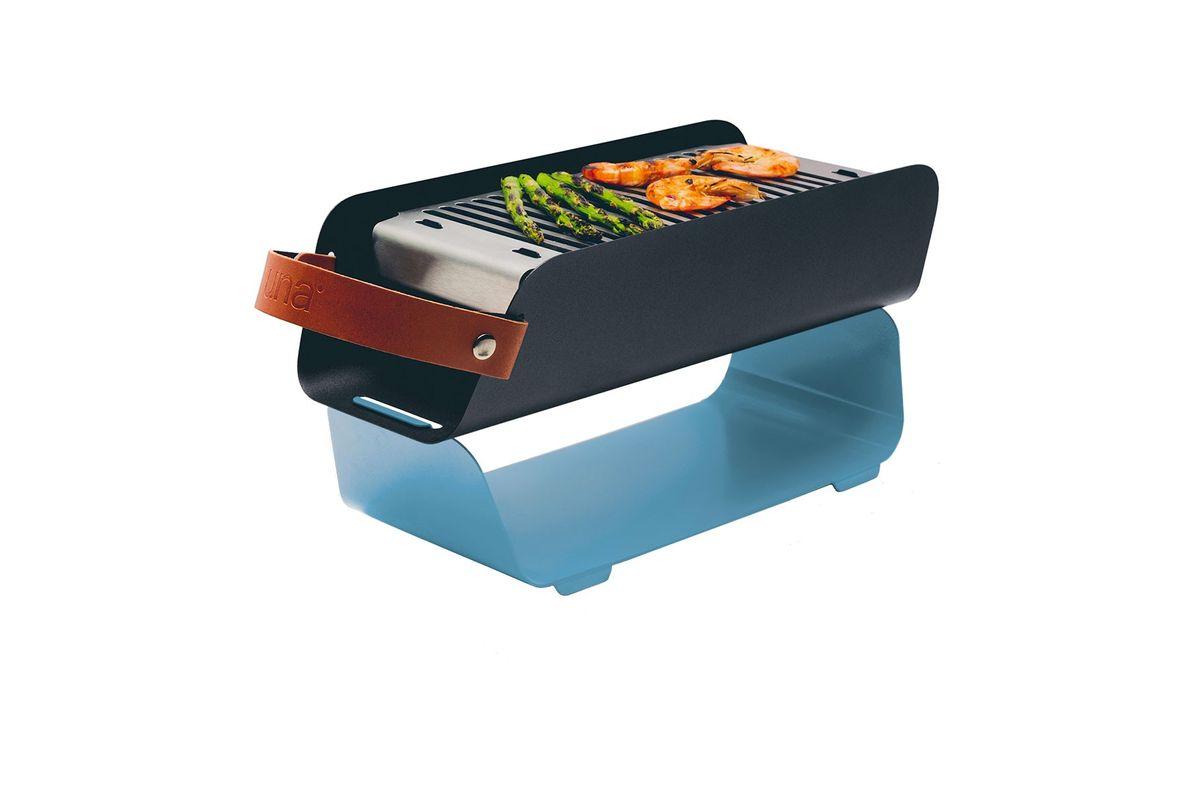 Mini barbecue portable en métal bleu