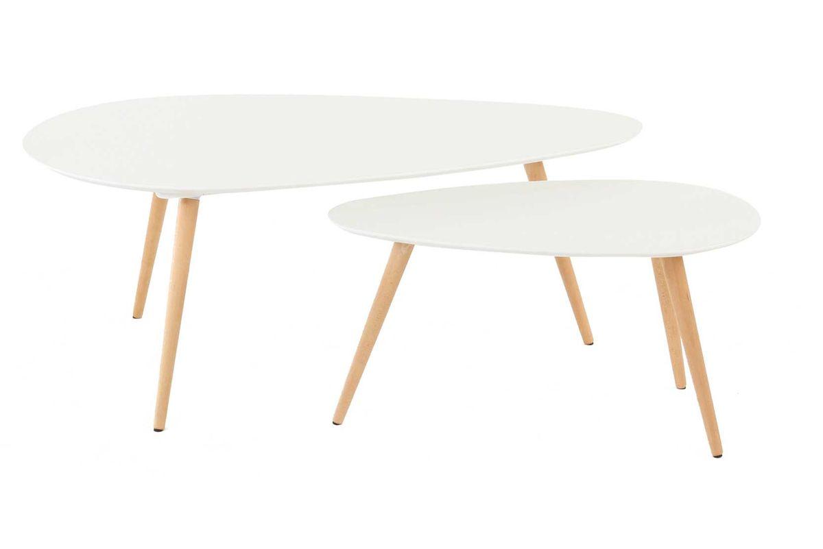 Tables basses gigognes chêne et laqué blanc