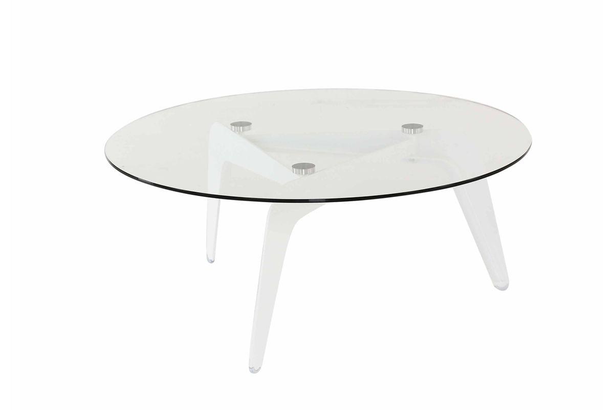 Table basse ronde verre et métal Ø96 cm Glass