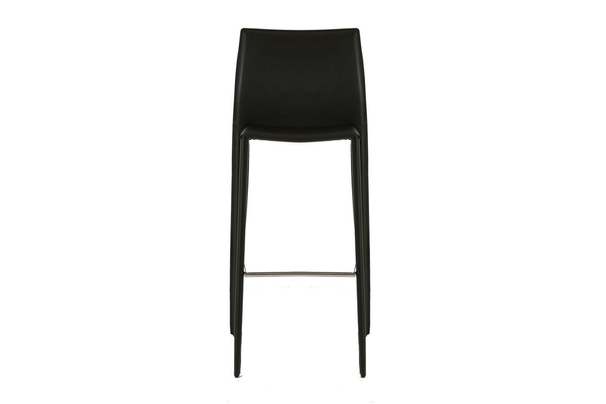 2x Chaise de bar simili-cuir noir Camille