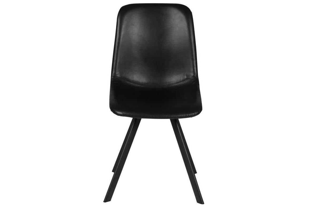 Chaise style caractère loft et industriel en simili cuir noir Carl lot de deux