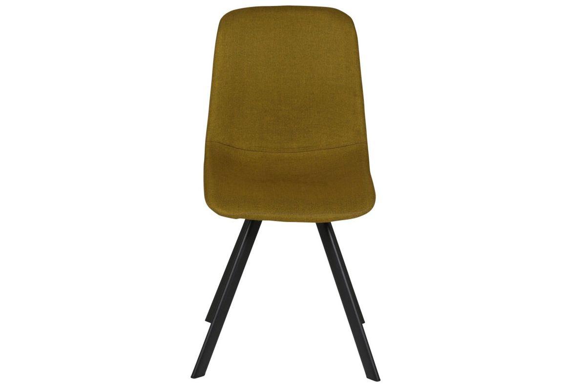 Chaise style naturel essentiel en tissu jaune Carl lot de deux
