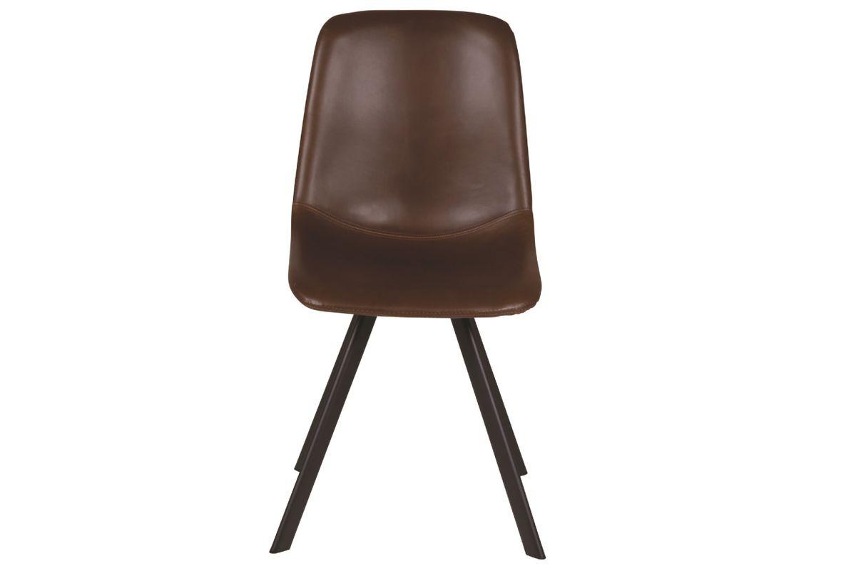 Chaise style caractère loft et industriel en simili cuir marron Carl lot de deux