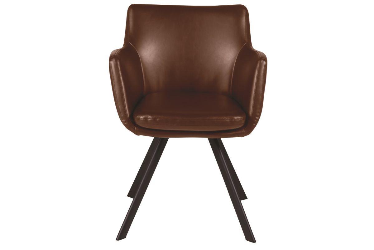 Fauteuil style caractère loft et industriel en simili cuir marron Carl