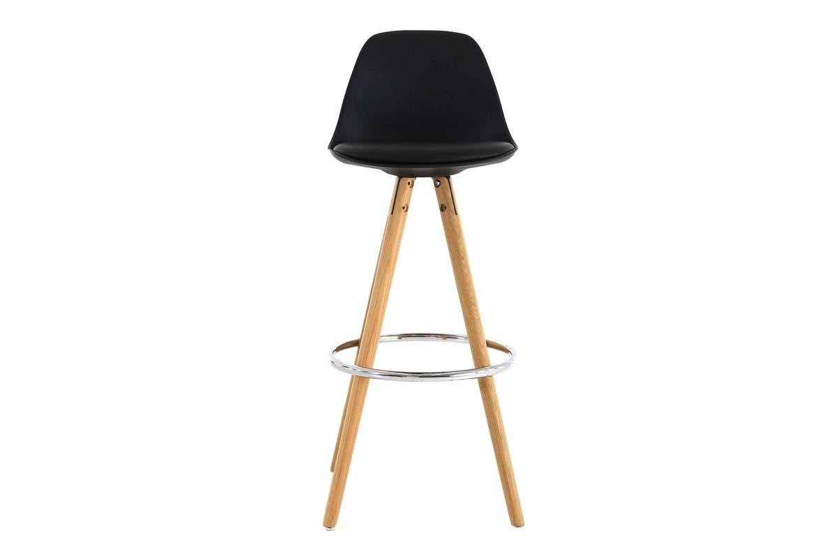 Chaise de bar design noire piétement chêne Circus