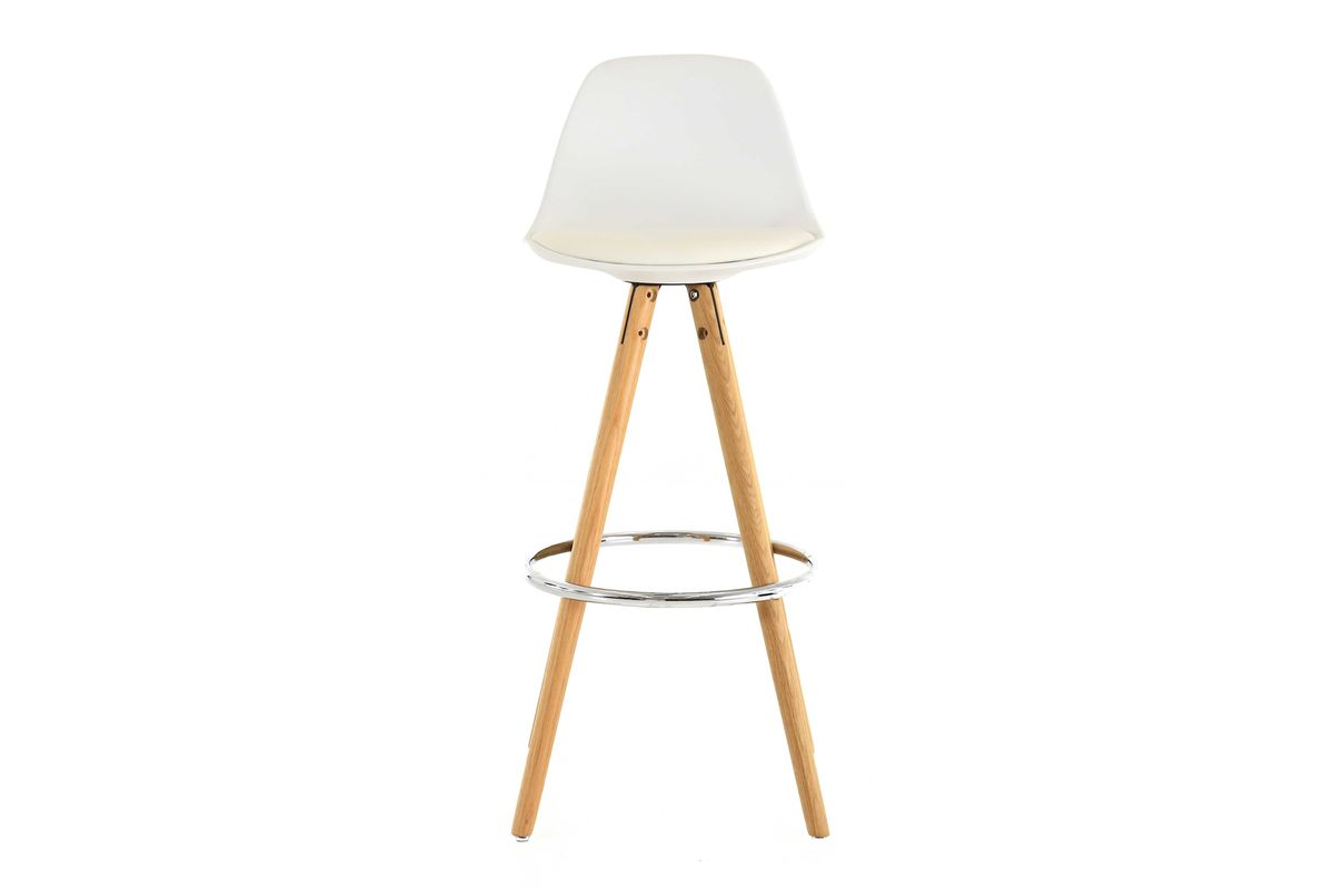 Chaise de bar blanche à coque piétement chêne Circus