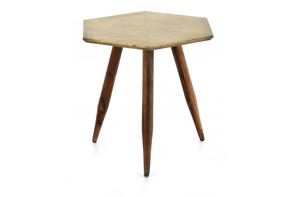 Table basse ronde bois de palissandre et métal finition laiton vieilli Coppen