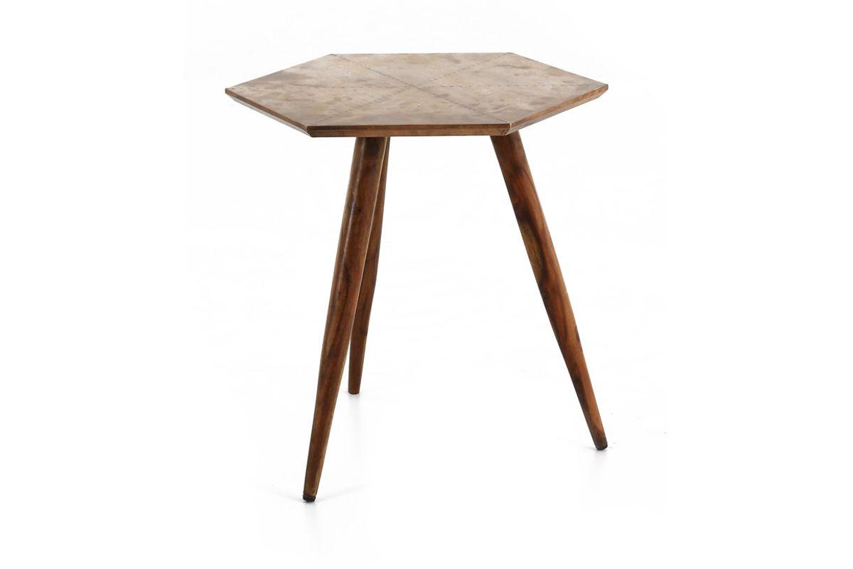 Table basse ronde bois de palissandre et métal finition cuivre vieilli Coppen