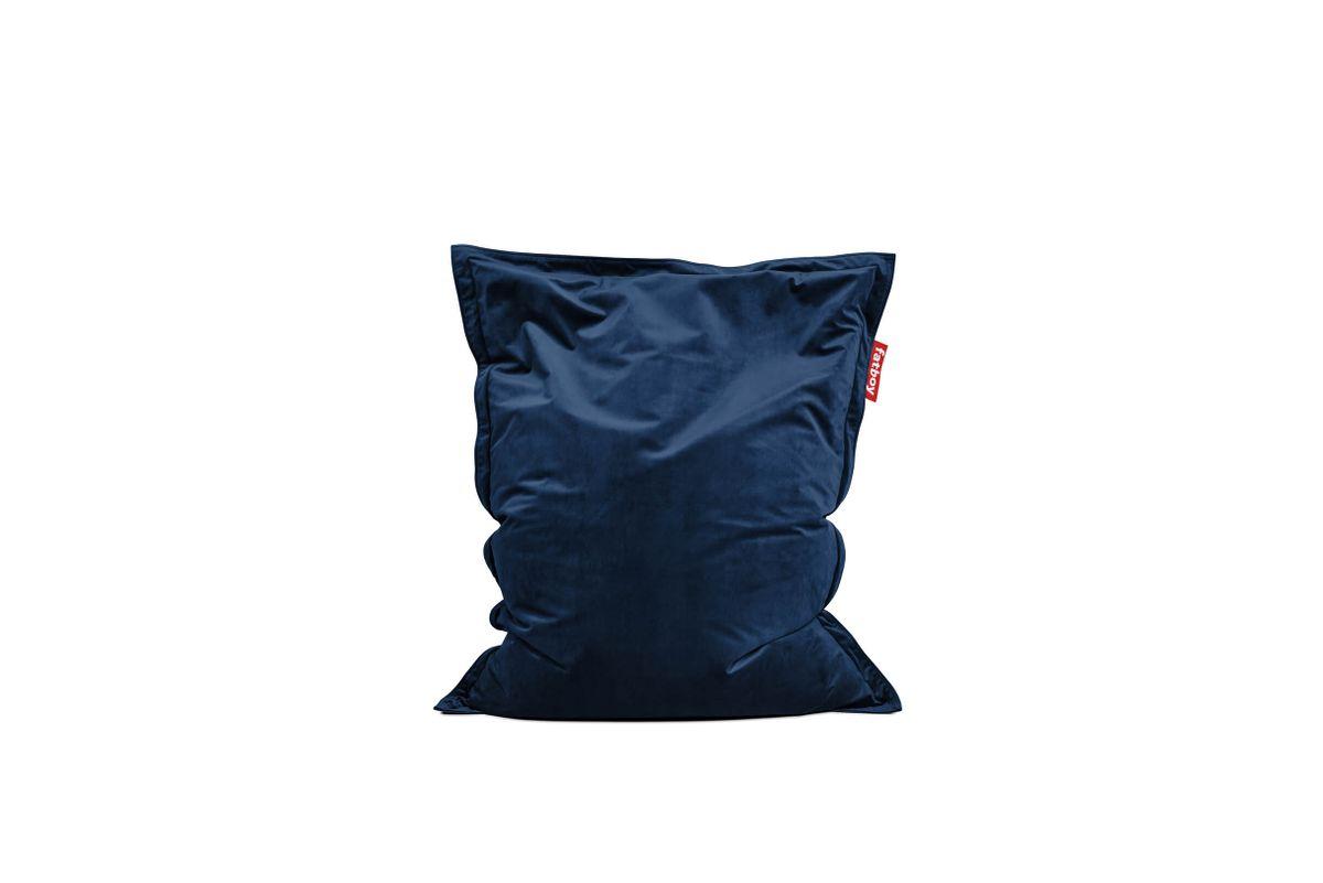 Pouf en velours bleu foncé Original Slim