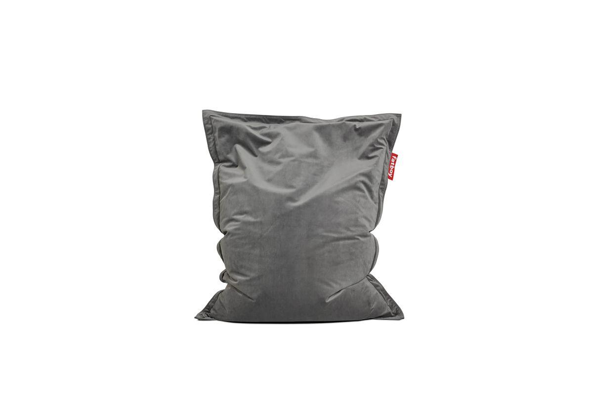 Pouf en velours gris taupe Original Slim