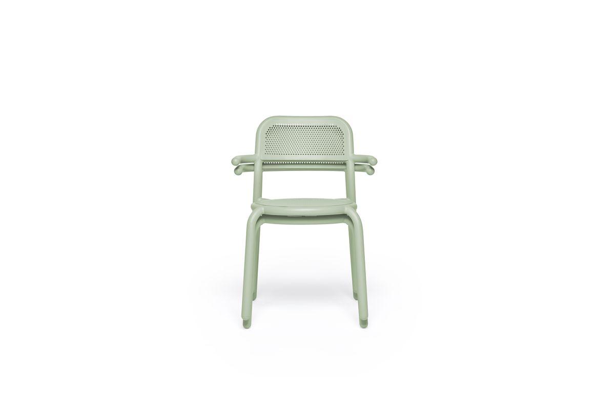 Chaise d'extérieur avec accoudoirs vert brume en aluminium toni armchair Fatboy