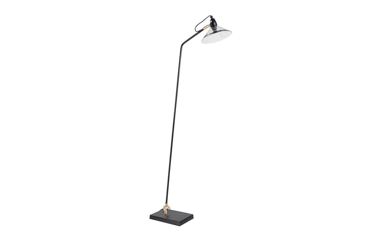 Lampadaire métal noir et verre Desk