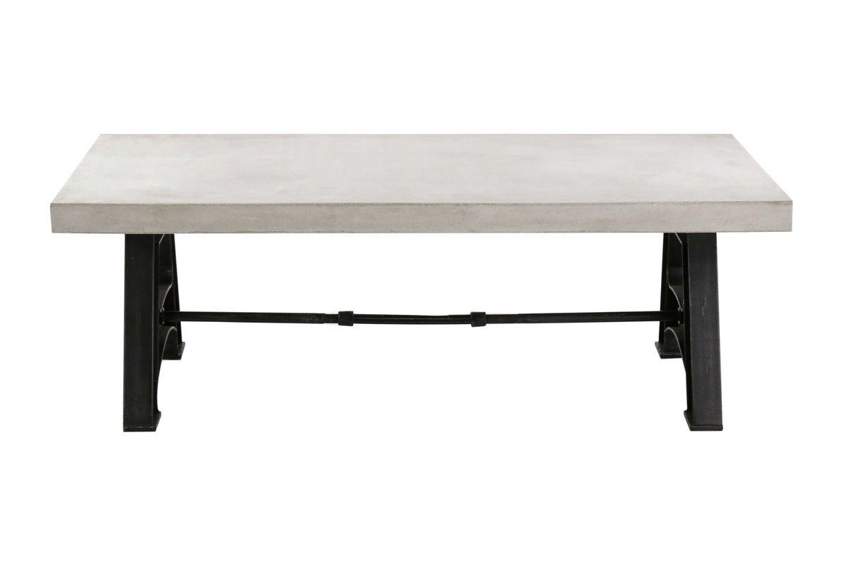 Table basse rectangulaire béton ciré et métal 120 cm Graphik