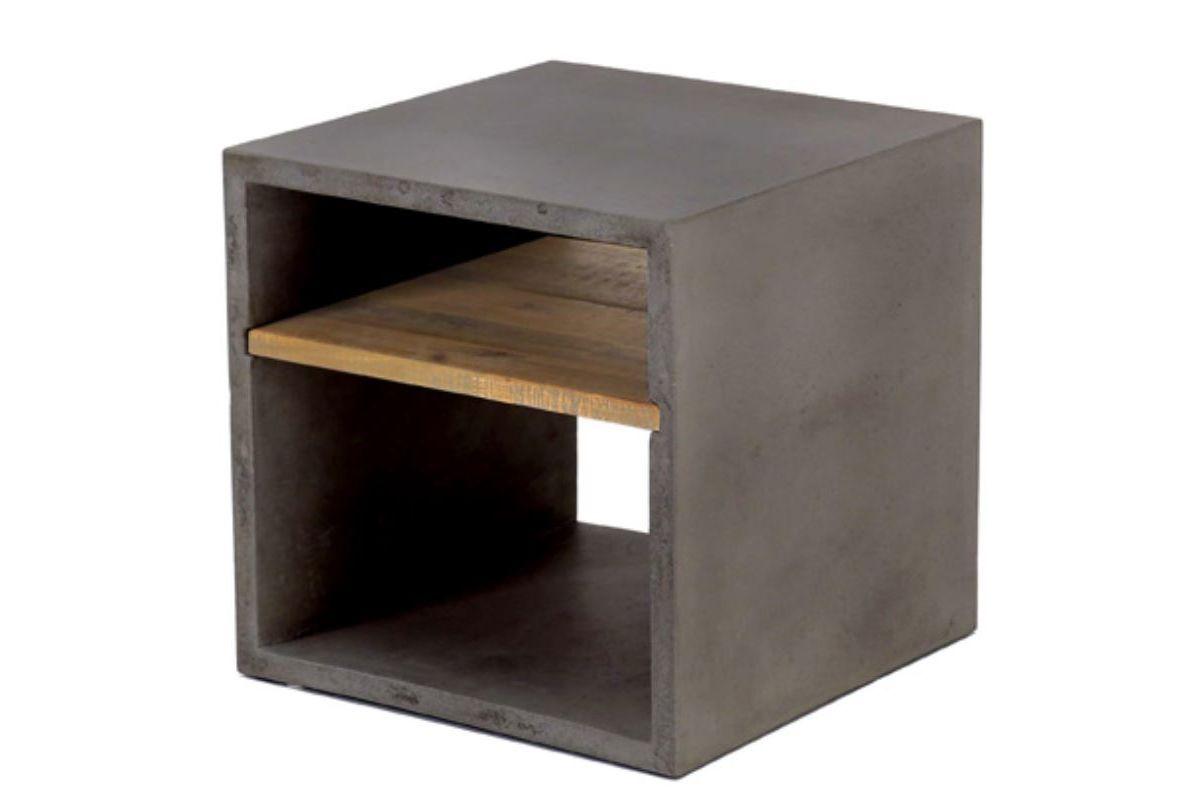 Cube de rangement béton et acacia 40X40 cm gris foncé Hermitage