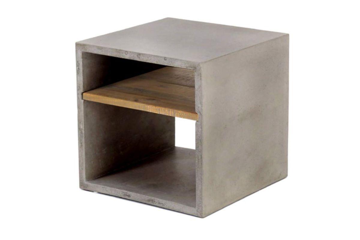 Cube de rangement béton et acacia 40X40 cm  gris clair Hermitage