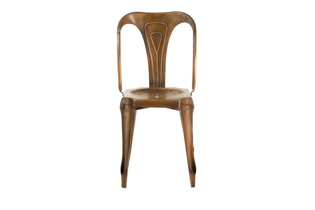 4x Chaise métal cuivré marron Indus
