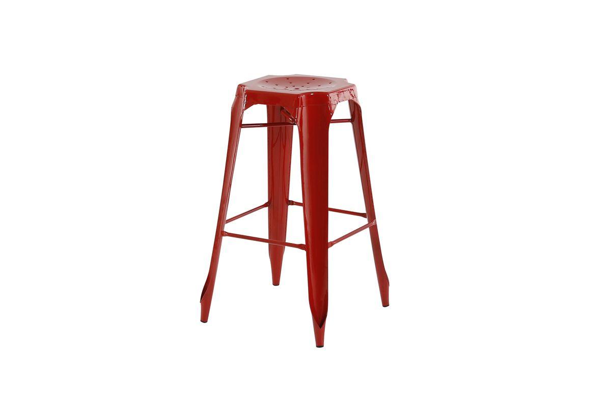 Tabouret de bar industriel en métal rouge Indus (lot de 2)