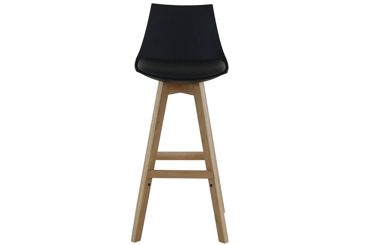 Chaise de bar noire et pieds en chêne massif Kim (lot de 2)