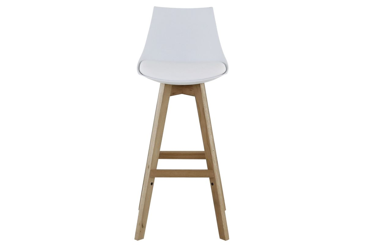 Chaise de bar blanche et pieds en chêne massif Kim  (lot de 2)
