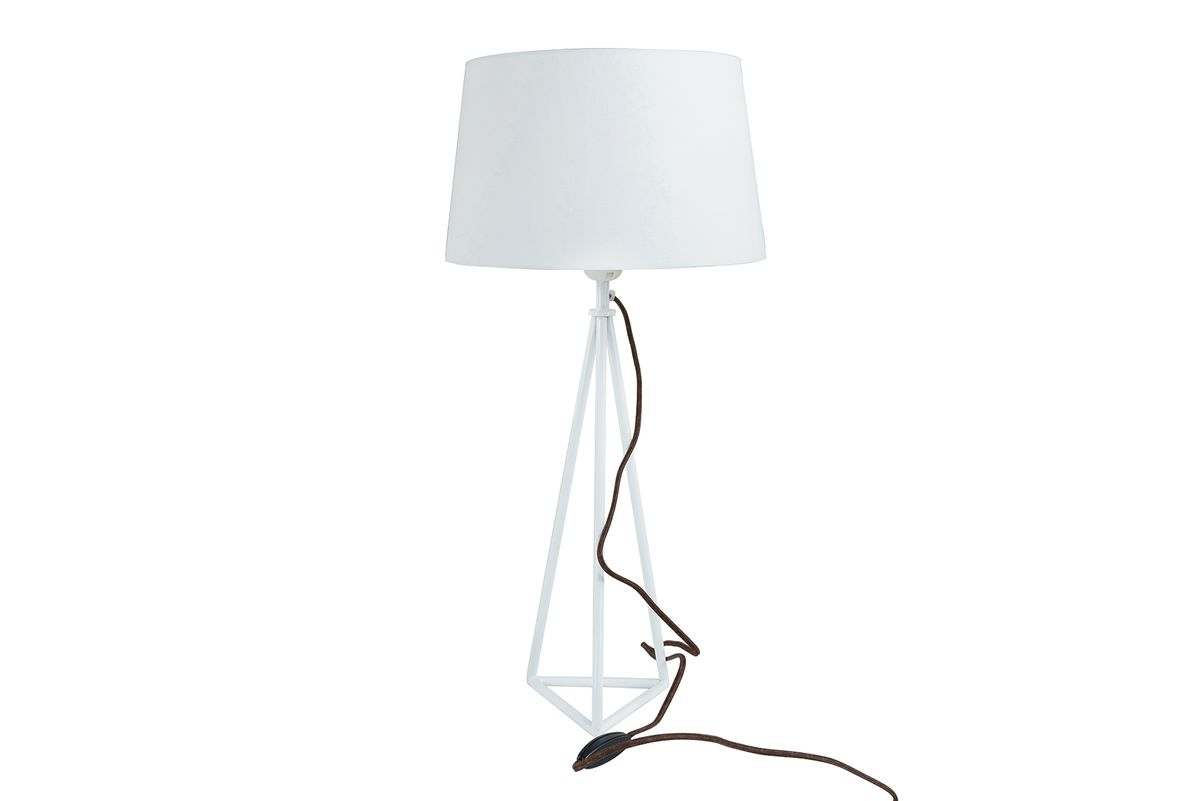 Lampe à poser style industriel métal et tissu blanc Pyra