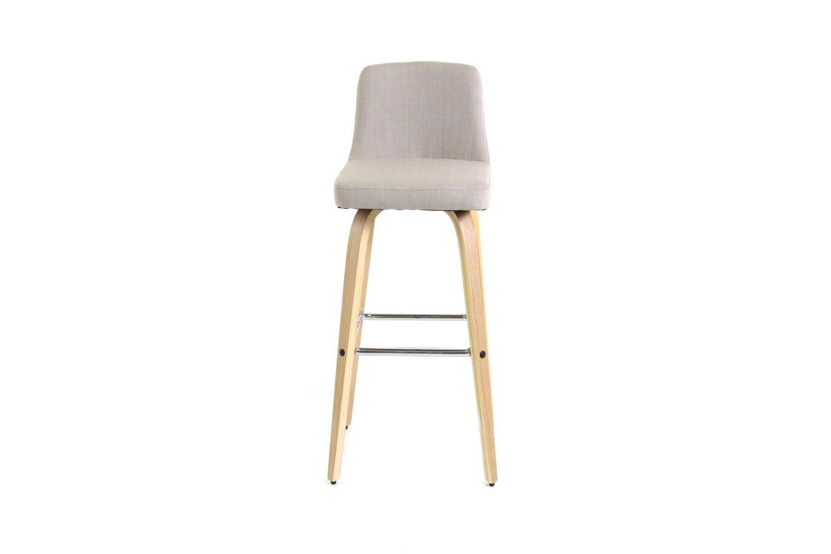Chaise de bar en tissu beige piétement plaqué chêne Leti (lot de 2)