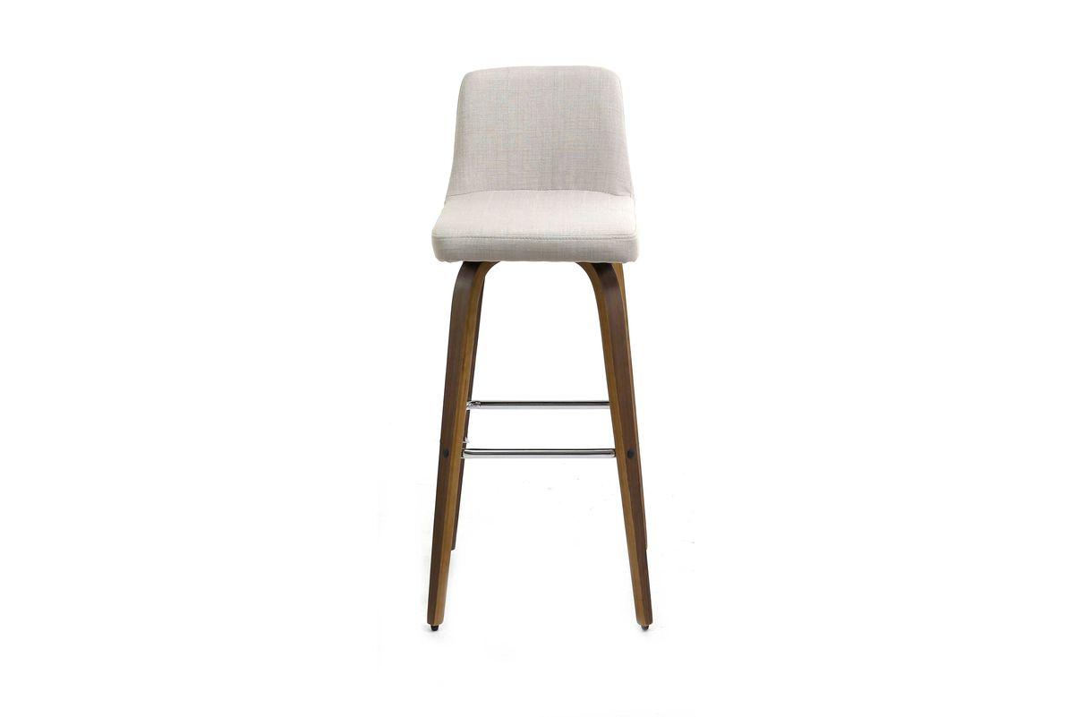 Chaise de bar design en tissu beige et pieds bois foncé Leti