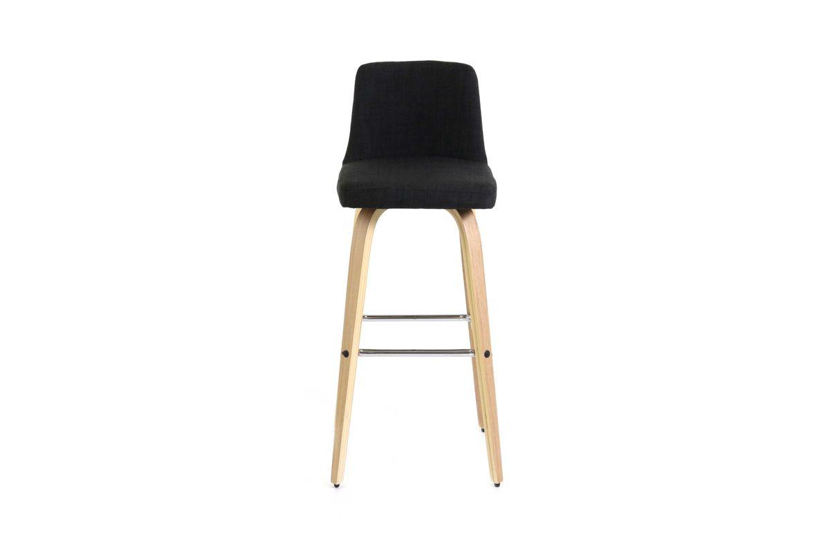 Chaise de bar design tissu gris foncé et pieds bois clair Leti