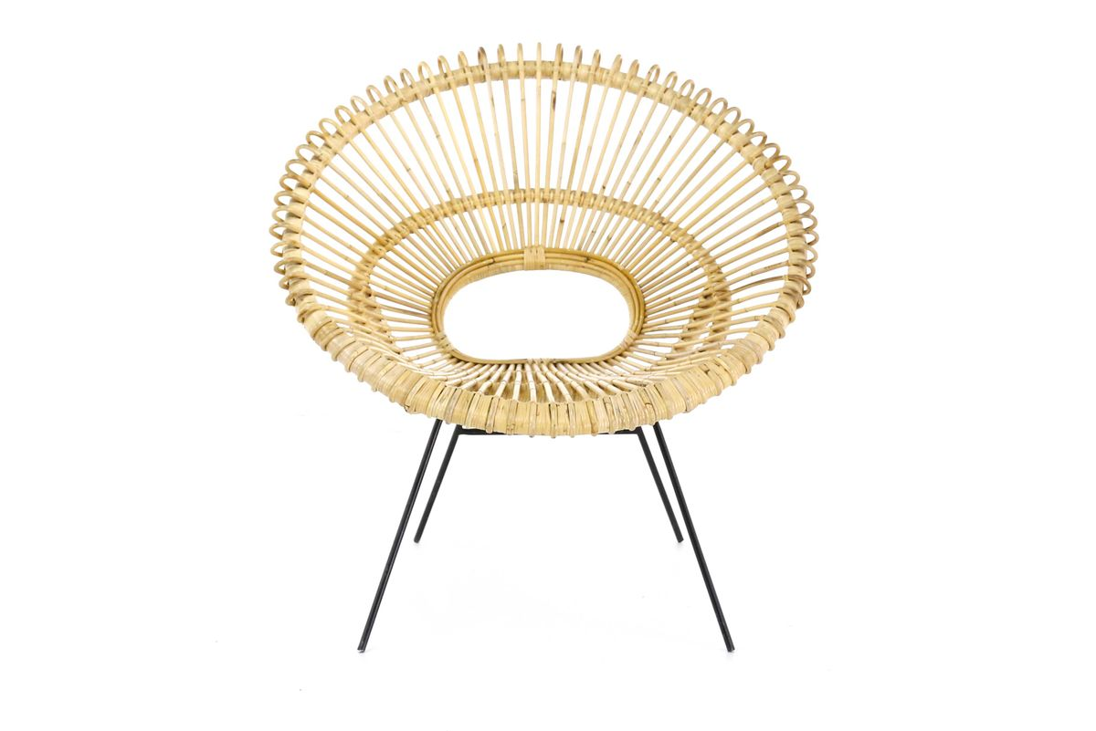 fauteuil ronde kubu naturel pieds méta noir